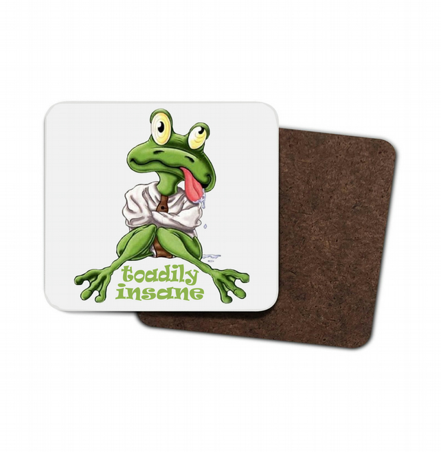 Toadily Insane Toad Hardboard Coaster, Drinks Mat, Hardboard Mat