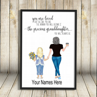Granddaughter & Nana A4 Print, Custom Grandma and Granddaughter Picture