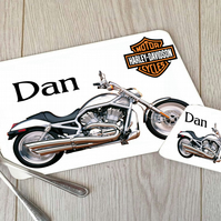 Motorbike Hardboard Placemat and Coaster Set, Motorbike Table Setting