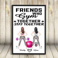 Best Friends Gym Friends Custom A4 Print, Personalised Friends A4 Print