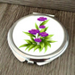 Purple Flower Personalized Compact Mirror, Round Compact Mirror, Pocket Mirror
