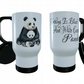 Panda & Baby Travel Mug, Thermal Coffee Mug, Panda Personalised Travel Mug