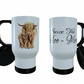 Highland Cow & Baby Travel Mug, Highland Cow Travel Mug, Thermal Coffee Mug