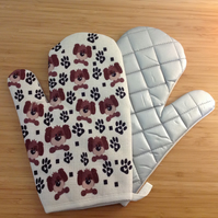 Dog Print Oven Mitts, Dog Printed Oven Gloves