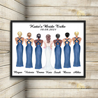Bride Tribe Personalised Print, Bride Squad Custom Picture, Wedding Party