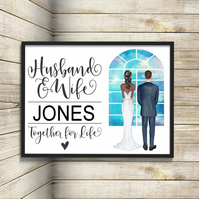 Bride & Groom Personalised Print, Custom Husband and Wife Picture