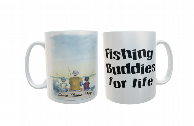 Fishing Buddies Ceramic Mug, Custom Fishing Mug, Personalized Fathers Day Gift