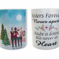Winter Days Sisters Forever Mug, Custom Sisters Mug, Personalised Coffee mug