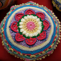 Boho cushion - raspberry