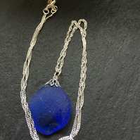 Silver plated necklace with deep blue coloured sea glass pendant