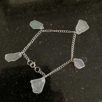 Silver plate and seaglass bracelet