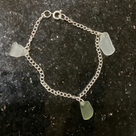 Seaglass and silver plate bracelet
