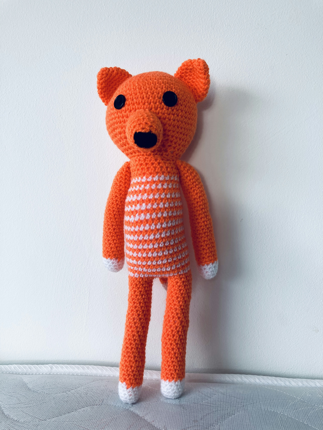 HANDMADE CROCHET ACRYLIC STUFFED ORANGE,WHITE FOX SOFT TOY ANIMAL