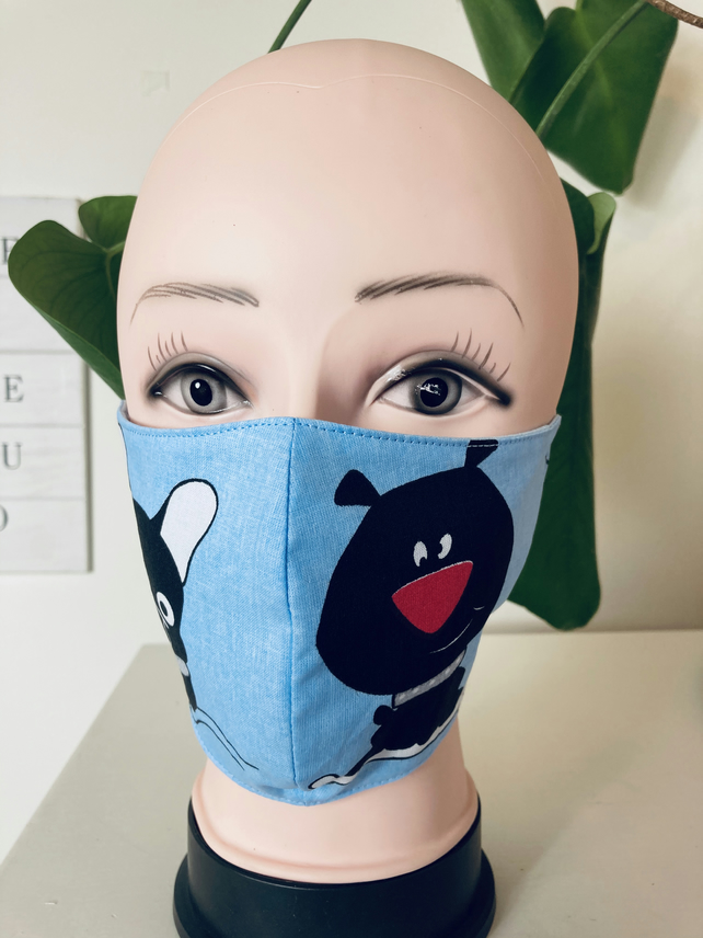 Handmade 3 layers blue,black dogs reusable adult face mask.