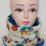ADULT OWL,TURQUOISE TUBE NECK WARMER SCARF THERMAL DOUBLE LAYERED FLEECE