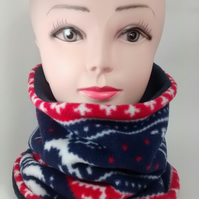 ADULT REINDEER,NAVY BLUE TUBE NECK WARMER SCARF THERMAL DOUBLE LAYERED FLEECE