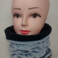 ADULT DIMPLE,NAVY BLUE TUBE NECK WARMER SCARF THERMAL DOUBLE LAYERED FLEECE