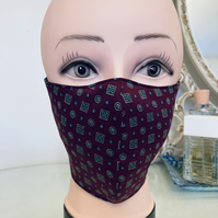 Handmade 3 layers maroon squares reusable adult face mask.