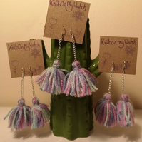 Pink, purple and mint tassel earrings