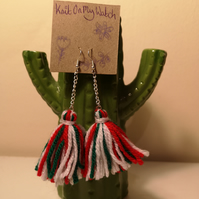 Christmas colour theme tassel earrings