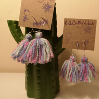 Pink, purple and mint tassel hoop earrings