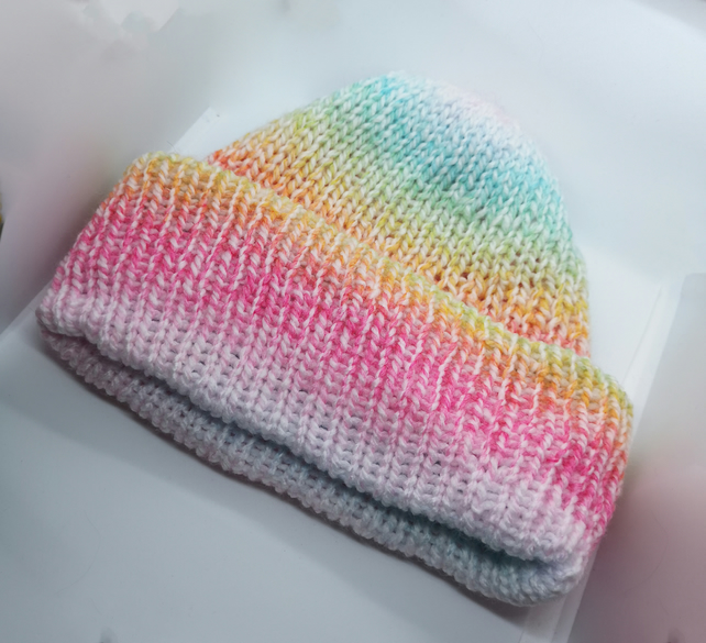 Handknitted rainbow gradient hat