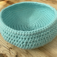 Crochet bowl, basket in aqua