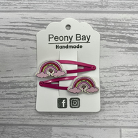 SALE - Girl's rainbow hair clips in pink