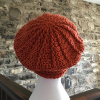 Women's burnt orange beanie hat