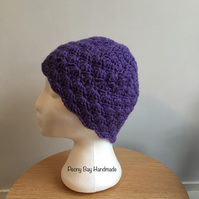 Women's purple beanie hat