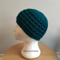 Women's teal beanie hat