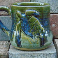 Turtle Motif Hand Made Mug - Wheel thrown - Ceramic