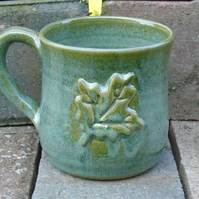 Sycamore Leaf Stoneware Mug - Wheel-thrown