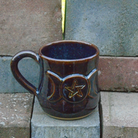 Triple Moon Pentagram Mug - Ceramic - Chestnut Blue