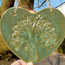 Ceramic Heart with Tree Hanging Decoration - Stoneware