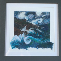 Sea Squall framed giclée print embellished with appliqué and machine embroidery