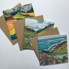 6 blank cards featuring landscape art by Donna Cheshire. 2 each of 3 designs