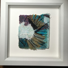Journey Mapping- Water & Stone textile art framed