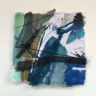 Journey Mapping - Rain Drawn Sea - framed textile art