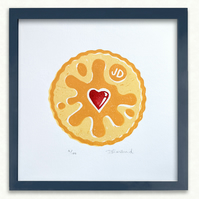 """Jammie Dodger Biscuit 3 layer lino print. Signed & Limited Edition of 100. 8x8"""""""