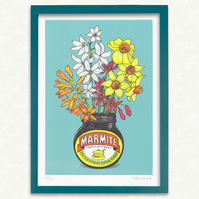Marmite & Flowers Illustration. Signed limited Edition of 100. Quality FSC paper