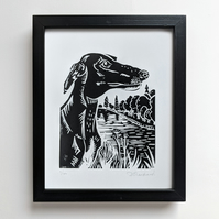 """Greyhound by the River Lino Print. 10x8"""" linocut. Signed, limited edition of 100"""