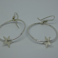Silver Hoop Earrings with Stars