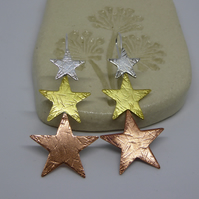Star Drop Earrings - Silver, brass and copper