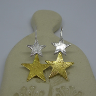 Star Drop Earrings - Silver and Brass