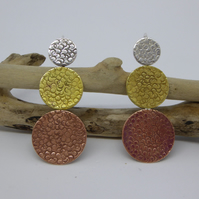 Circle Design Drop Earrings - silver, brass, copper