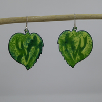 Leaf Earrings - Enamel on Copper