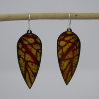 Enamel Drop Earrings - Winter Trees