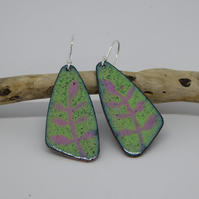 Leaf Design Drop Earrings - Enamel on Copper