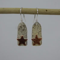 Silver Drop Earrings with Copper Stars